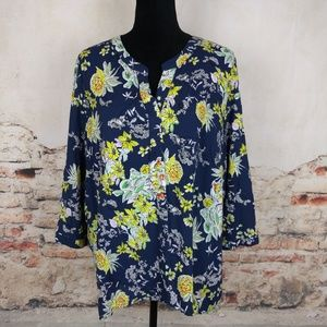 Tops - Marina Luna 2X Navy Blue Yellow Floral Blouse